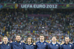 Italy football team players sing the national hymn Royalty Free Stock Photography