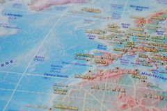 Italy, Frace and Portugal in close up on the map. Focus on the name of country. Vignetting effect.  stock photography
