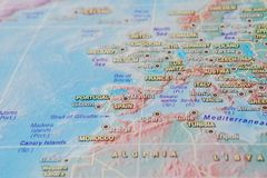 Italy, Frace, Spain and Portugal in close up on the map. Focus on the name of country. Vignetting effect.  stock photo