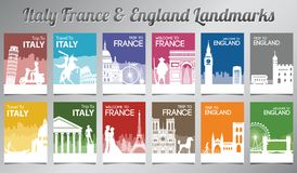 Italy France and England famous landmark and symbol in silhouette style with multi color brochure set royalty free stock images