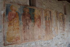 2016. Italy. Frescos at Chiasetta di San Giacomo di Calino. Stock Photo