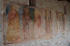 2016 italy Freskomålningar på Chiasetta di San Giacomo di Calino Arkivfoto