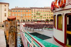 Ferry moored at Riva of Garda stock photography