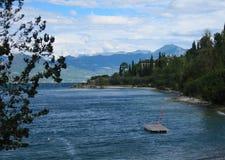 Italy Gardasee lake of garda lake mountain. Panorama Royalty Free Stock Image