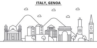 Italy, Genoa architecture line skyline illustration. Linear vector cityscape with famous landmarks, city sights, design. Icons. Editable strokes Stock Photo