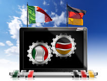 Italy and Germany - Laptop Computer Stock Images
