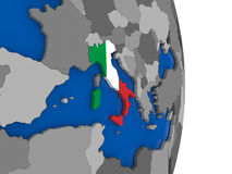 Italy on globe with flag Royalty Free Stock Image