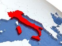 Italy on globe Stock Photos