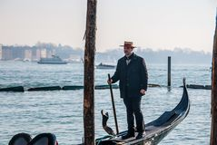Italy.City of Venice. Italy. Gondolier of the city of Venice one day of February of the year 2011 royalty free stock photography