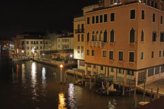 Italy. Grand canal at night. Venice Building Landscape Picture Royalty Free Stock Photo