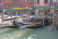 Italy. Grand canal. Venice Building and Gondola Stock Images