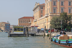 Italy. Grand canal. Venice Buildings. Boat station Stock Photo