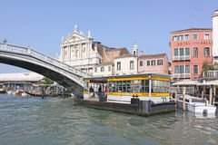 Italy. Grand canal. Venice Buildings. Boat station Stock Images