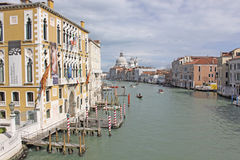 Italy. Grand canal. Venice Buildings and  The Cathedral of Santa Maria della Salute Stock Images