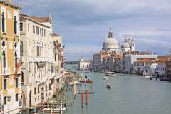 Italy. Grand canal. Venice Buildings and  The Cathedral of Santa Maria della Salute Royalty Free Stock Photography