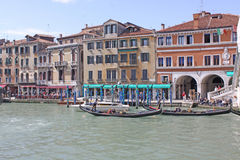 Italy. Grand canal. Venice Buildings and Gondola Stock Image