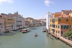 Italy. Grand canal. Venice Buildings and Gondola Stock Photography