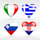 Italy, Greece, Slovenia and Croatia heart flag set of European states Stock Photos