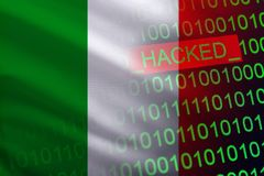 Italy hacked state security. Cyberattack on the financial and banking structure. Theft of secret information. On a background of a flag the binary code Royalty Free Stock Photos