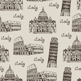 Italy hand drawn background, seamless vector pattern Stock Photos