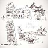 Italy  hand drawn landscape in vintage style Royalty Free Stock Photo
