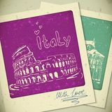 Italy  hand drawn landscape in vintage style Royalty Free Stock Photos