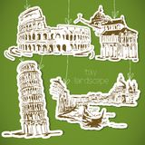 Italy  hand drawn landscape in vintage style Stock Photos
