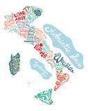 Italy hand drawn map  illustration Stock Images