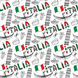 Italy hand drawn seamless pattern  with flag. Vector travel background. Italia lettering in italian language Royalty Free Stock Photography