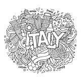 Italy hand lettering and doodles elements Stock Photos