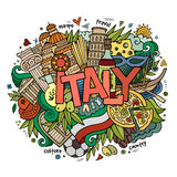 Italy hand lettering and doodles elements Stock Photography