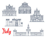 Italy historic buildings architecture vector icons Stock Images