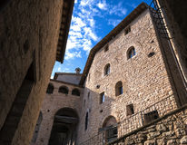 Italy, historic homes , medieval fortress, old town, Stock Image