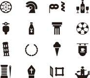 Italy icon set. Black and white glyph flat icons relating to Italy Royalty Free Stock Photos