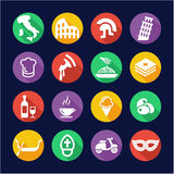 Italy Icons Flat Design Circle Royalty Free Stock Photos