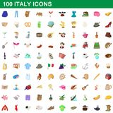 100 italy icons set, cartoon style. 100 italy icons set in cartoon style for any design illustration royalty free illustration