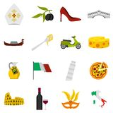 Italy icons set, flat style. Italy icons set. Flat illustration of 16 Italy vector icons for web Royalty Free Illustration