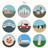 Italy Icons Set - Vector EPS10. Set of Italian landmarks icons. Vector illustrations Stock Photography