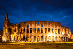 Italy Illuminated Colosseum at night Royalty Free Stock Photography