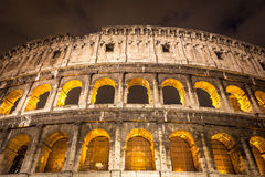 Italy Illuminated Colosseum at night Royalty Free Stock Images