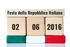 Italy independence day wooden calendar Royalty Free Stock Photography