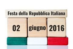 Italy independence day wooden calendar Stock Photos