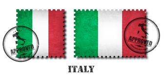 Italy or italian flag pattern postage stamp with grunge old scratch texture and affix a seal on background . Black color royalty free illustration