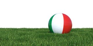Italy Italian flag soccer ball lying in grass world cup 2018. Isolated on white background. 3D Rendering, Illustration Stock Image