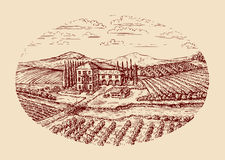 Italy. Italian rural landscape. Hand drawn sketch vintage vineyard, farm, agriculture, farming Stock Photo