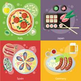 Italy, Japan, Spain and Germany food Royalty Free Stock Photography
