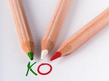 Italy ko. Green white and red pencil that write ko stock image