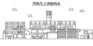 Italy, L aquila architecture line skyline illustration. Linear vector cityscape with famous landmarks, city sights. Design icons. Editable strokes Stock Photos