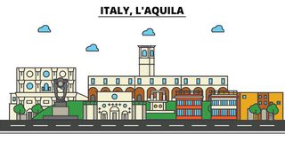 Italy, L aquila. City skyline architecture . Editable. Italy, L aquila. City skyline architecture, buildings, streets, silhouette, landscape, panorama landmarks Stock Photo