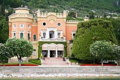 Italy. Lake Garda. Ancient villa. On the beach stock images
